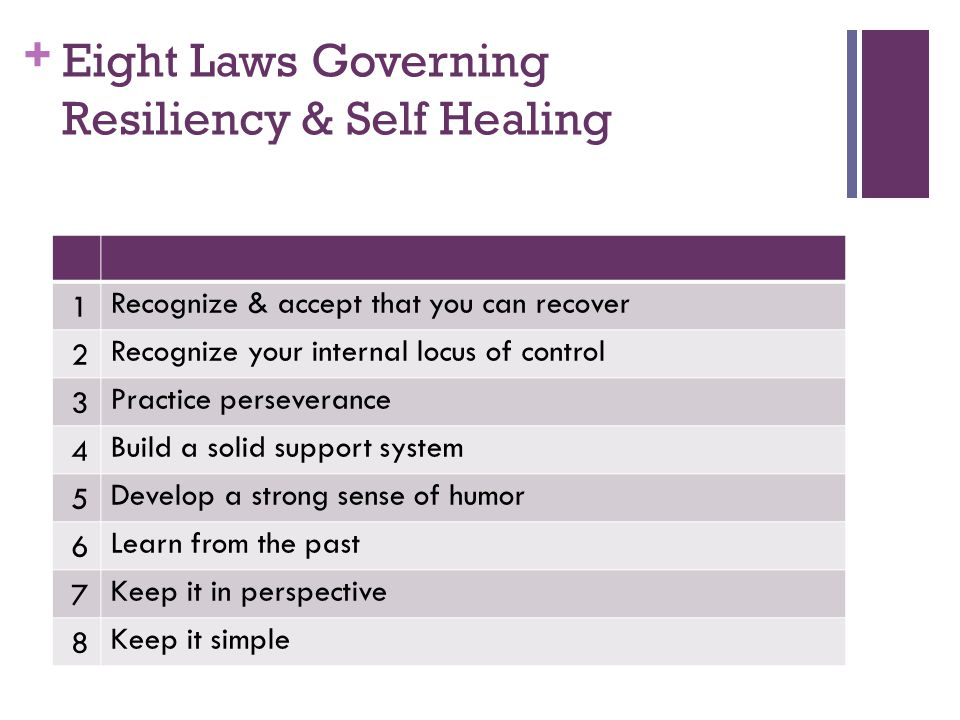 Eight Laws Governing Resiliency & Self Healing