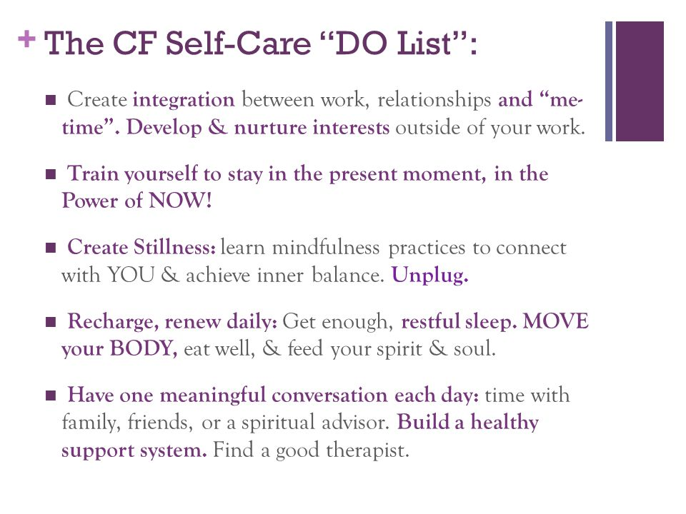 The CF Self-Care DO List :