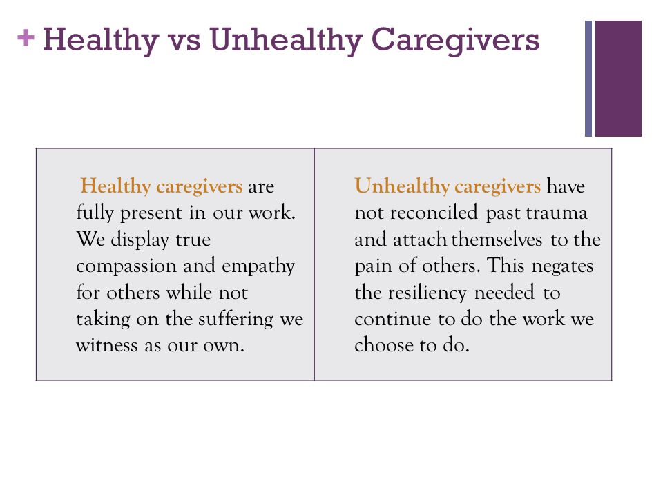 Healthy vs Unhealthy Caregivers