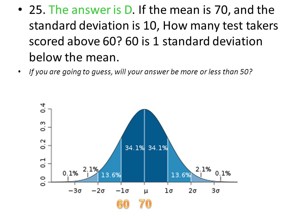25. The answer is D. If the mean is 70, and the standard deviation is 10, How many test takers scored above 60 60 is 1 standard deviation below the mean.