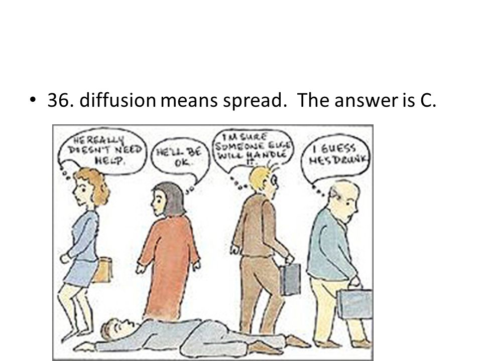 36. diffusion means spread. The answer is C.