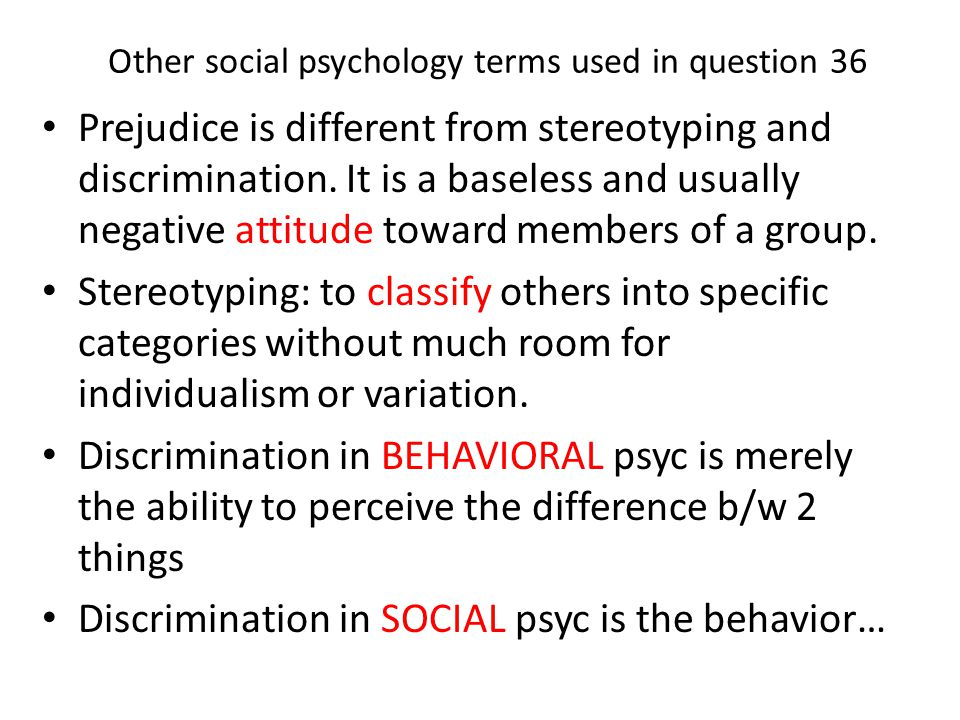 Other social psychology terms used in question 36