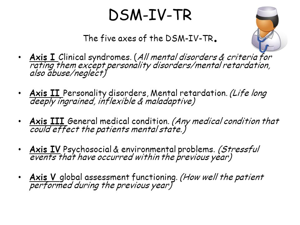 DSM-IV-TR The five axes of the DSM-IV-TR.