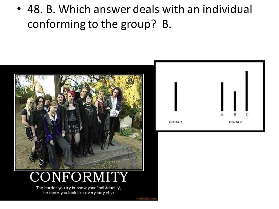 48. B. Which answer deals with an individual conforming to the group B.