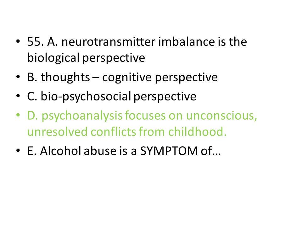 55. A. neurotransmitter imbalance is the biological perspective