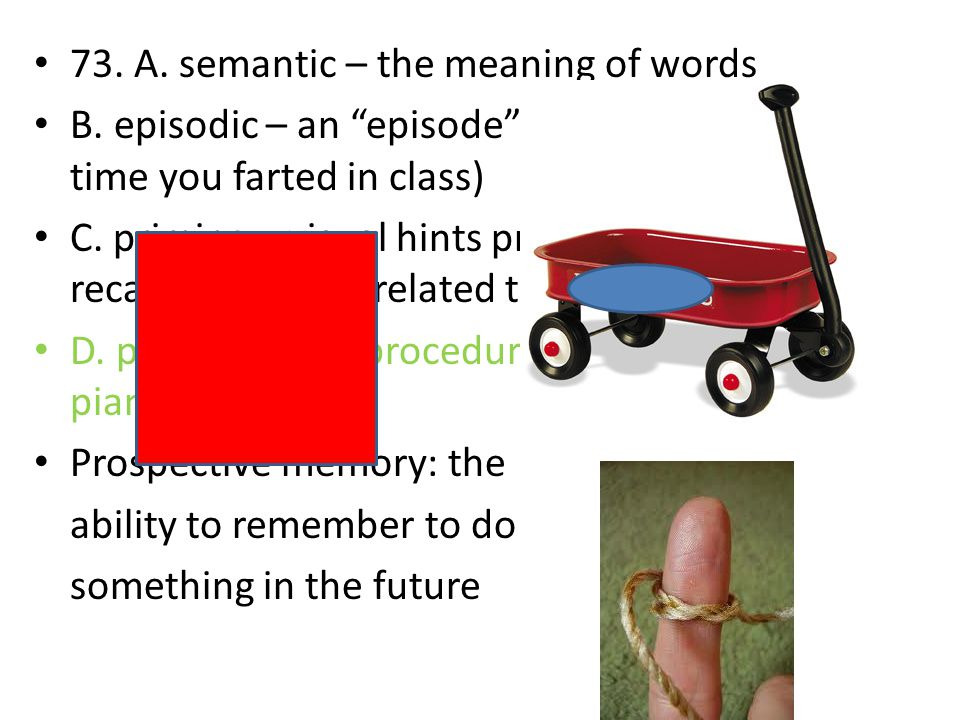 73. A. semantic – the meaning of words