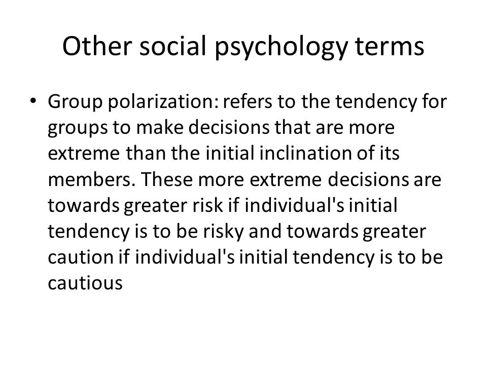 Other social psychology terms