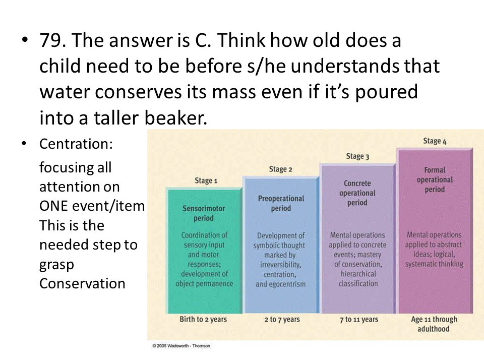 79. The answer is C. Think how old does a child need to be before s/he understands that water conserves its mass even if it's poured into a taller beaker.