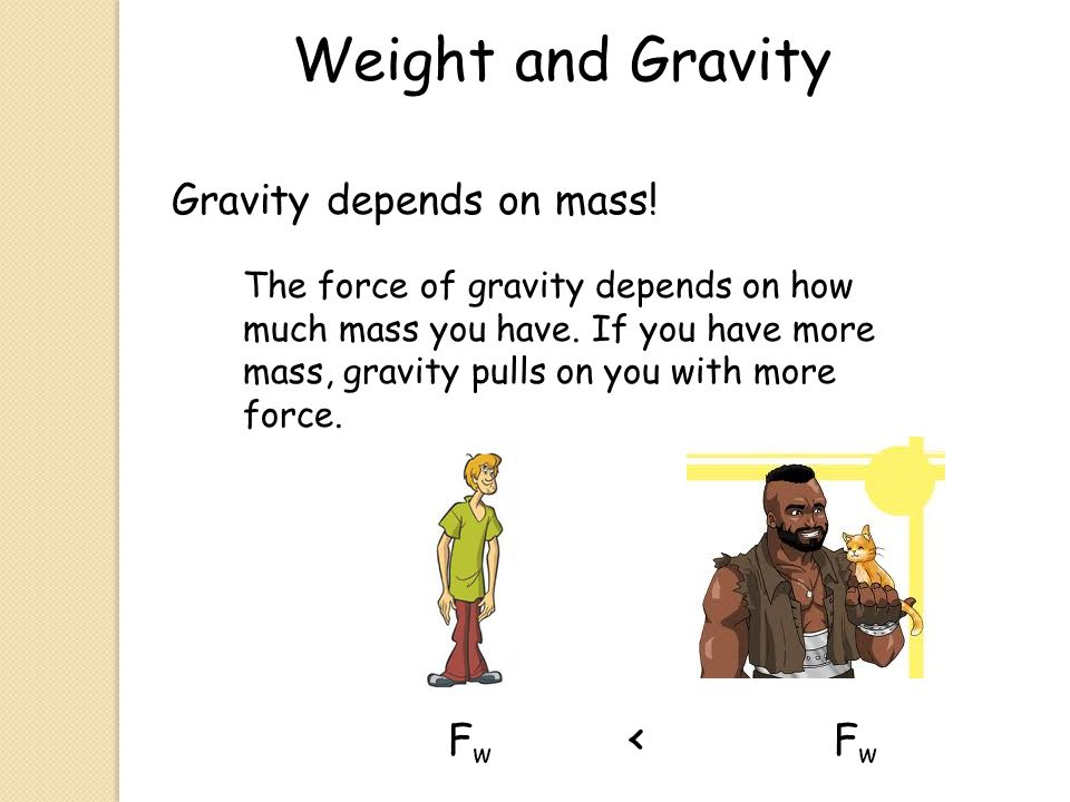 Weight and Gravity Gravity depends on mass! Fw < Fw