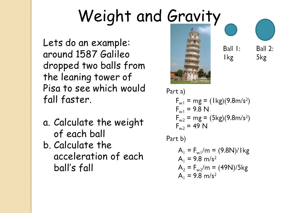 Weight and Gravity Lets do an example: around 1587 Galileo dropped two balls from the leaning tower of Pisa to see which would fall faster.