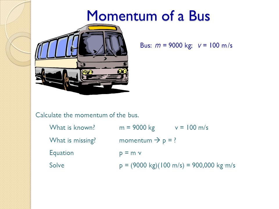Momentum of a Bus Bus: m = 9000 kg; v = 100 m /s