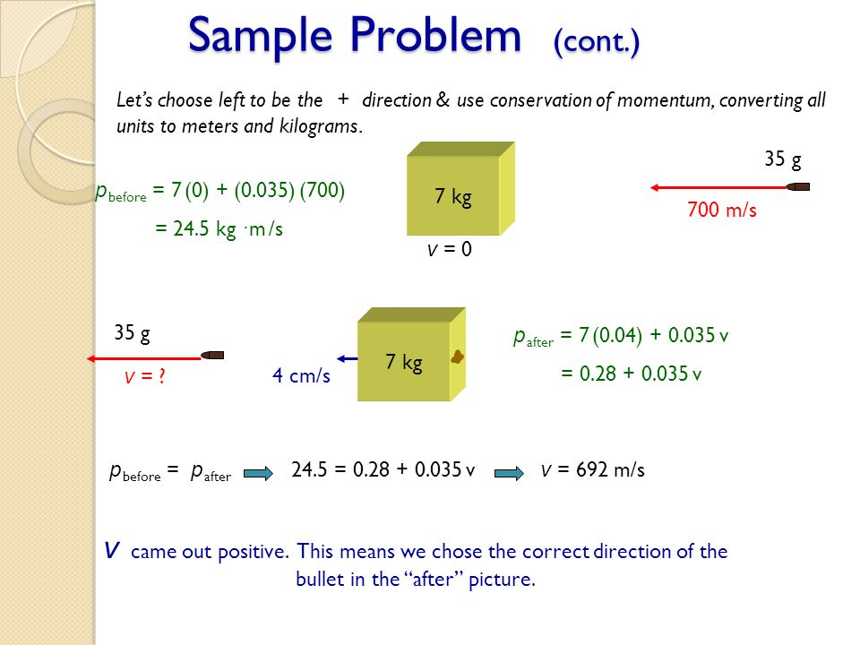 Sample Problem (cont.) Let's choose left to be the + direction & use conservation of momentum, converting all units to meters and kilograms.