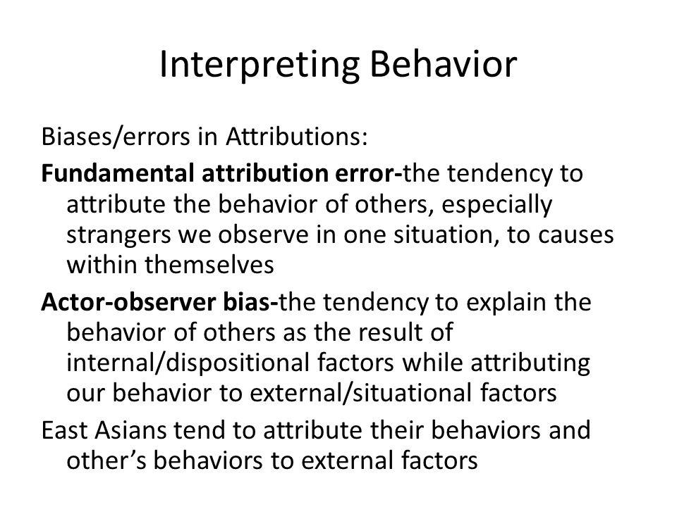 Interpreting Behavior