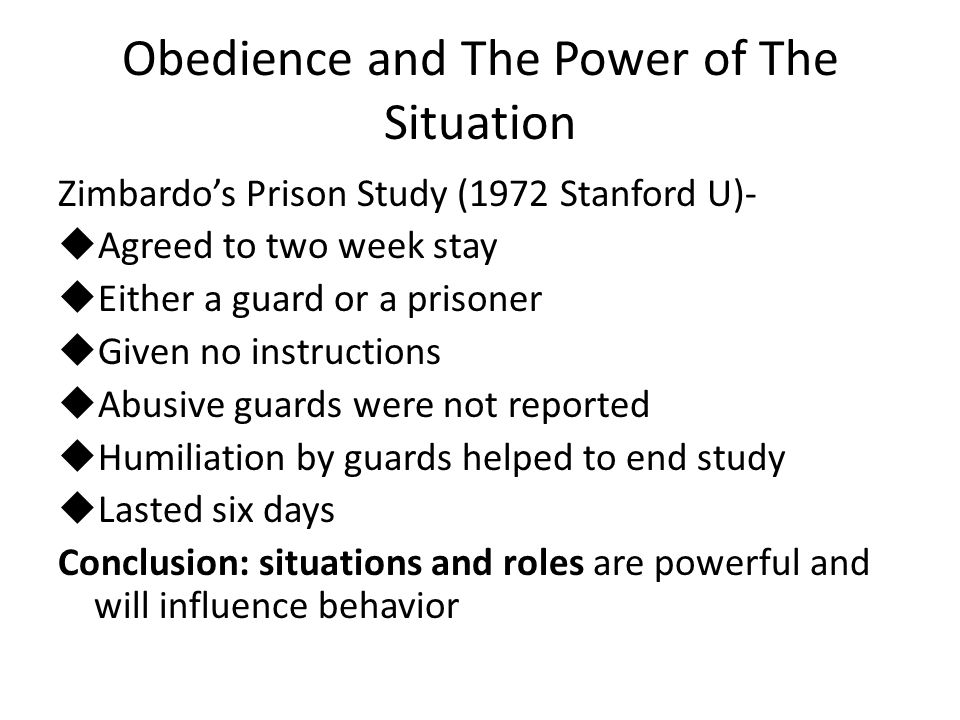 Obedience and The Power of The Situation