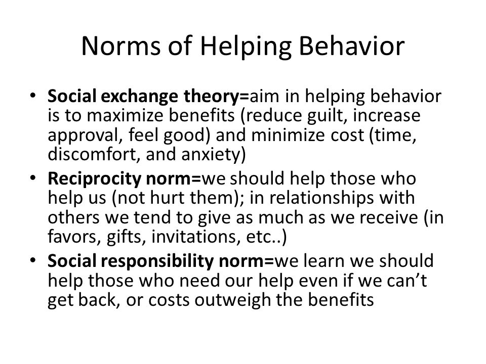 Norms of Helping Behavior