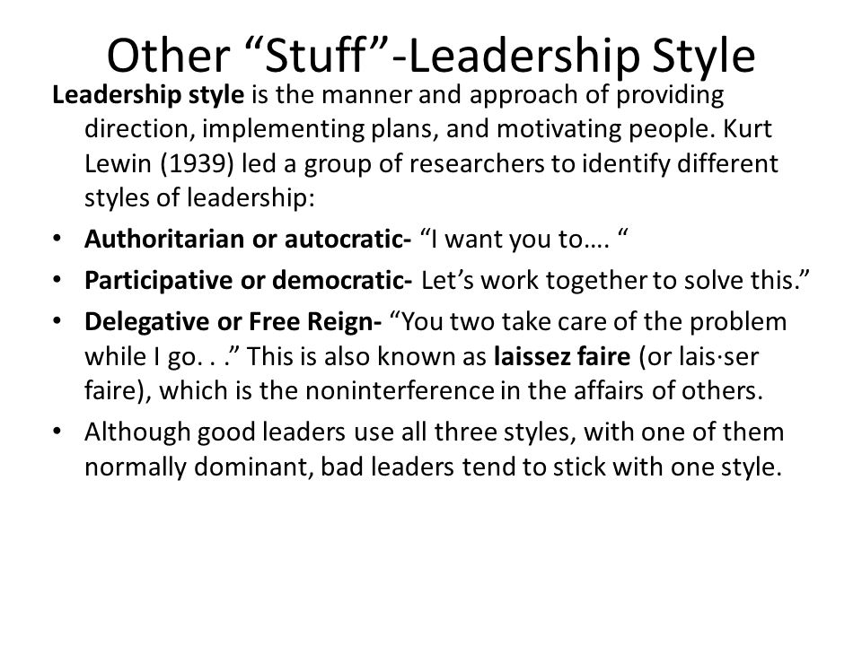 Other Stuff -Leadership Style