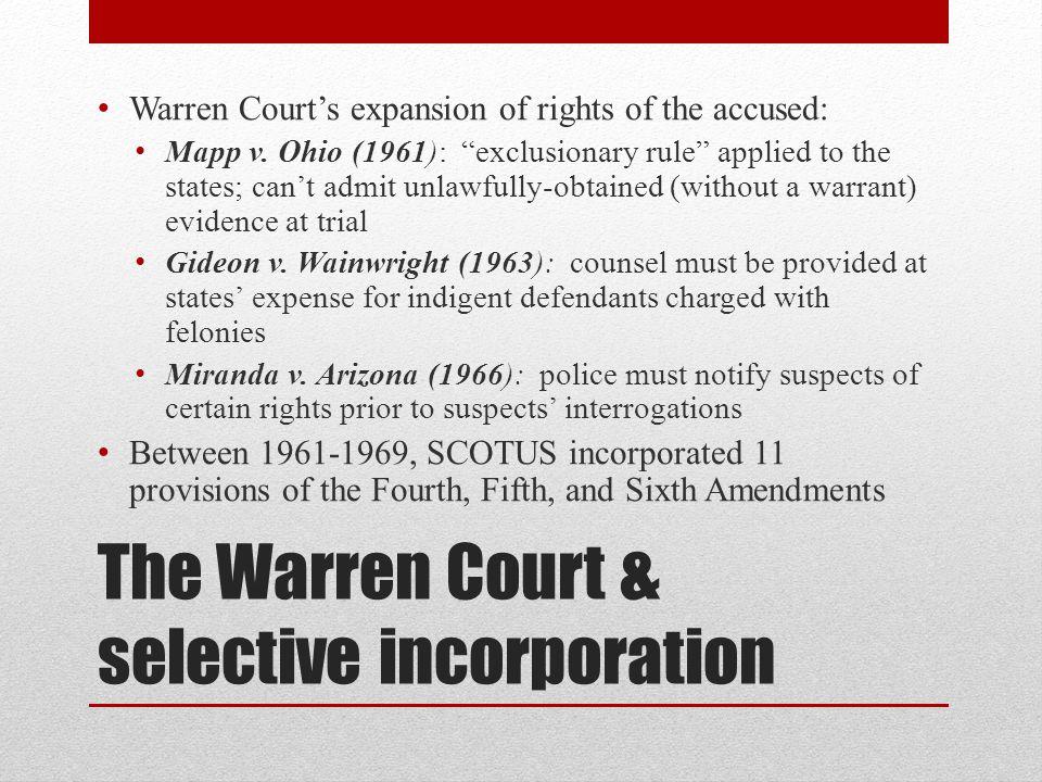 The Warren Court & selective incorporation