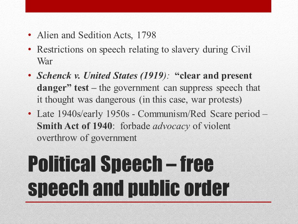 Political Speech – free speech and public order