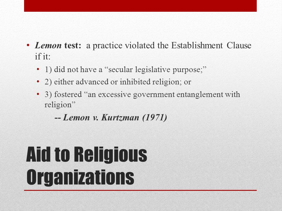 Aid to Religious Organizations