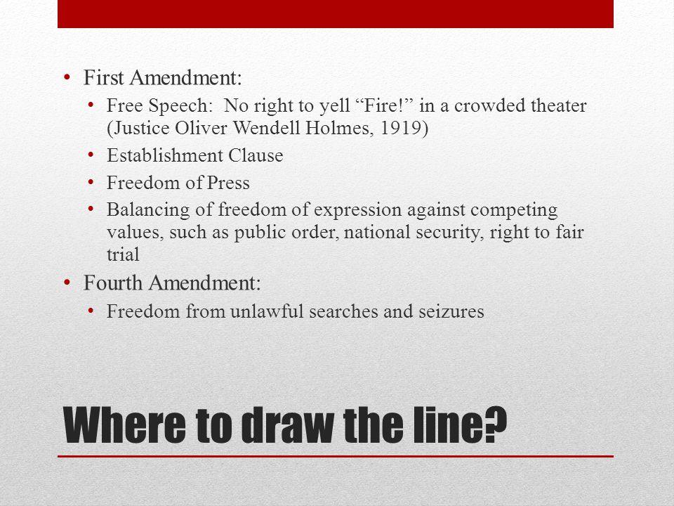 Where to draw the line First Amendment: Fourth Amendment: