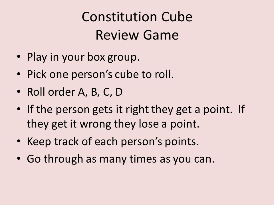 Constitution Cube Review Game