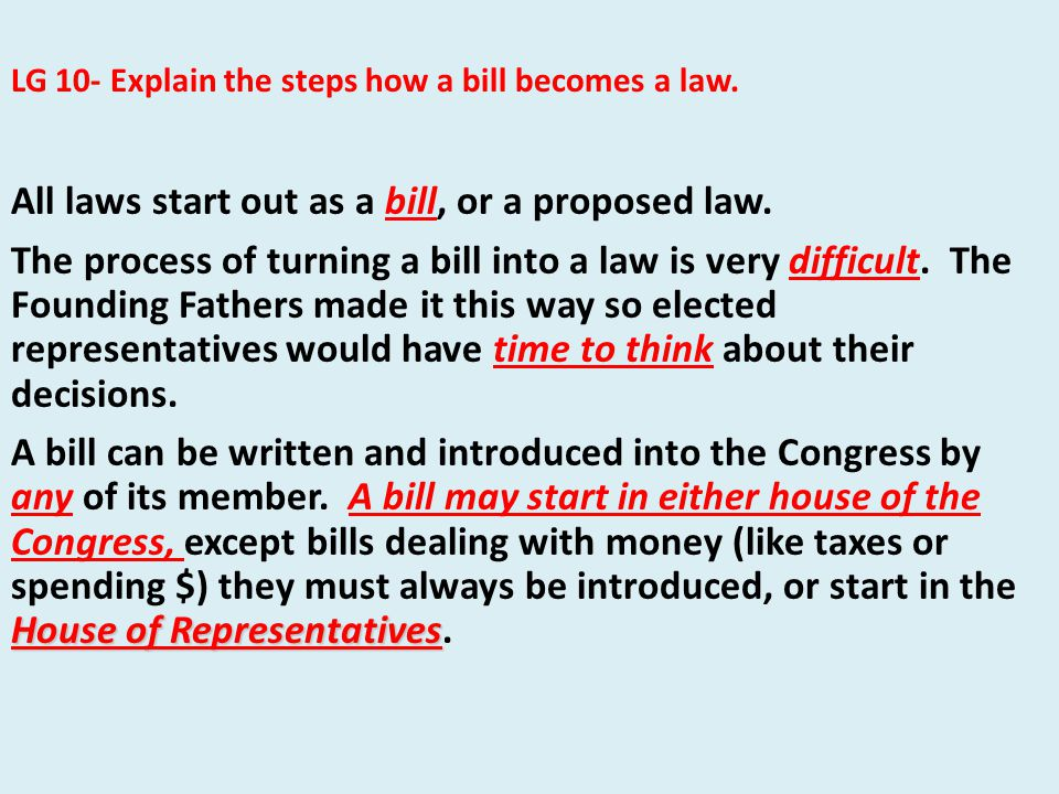All laws start out as a bill, or a proposed law.