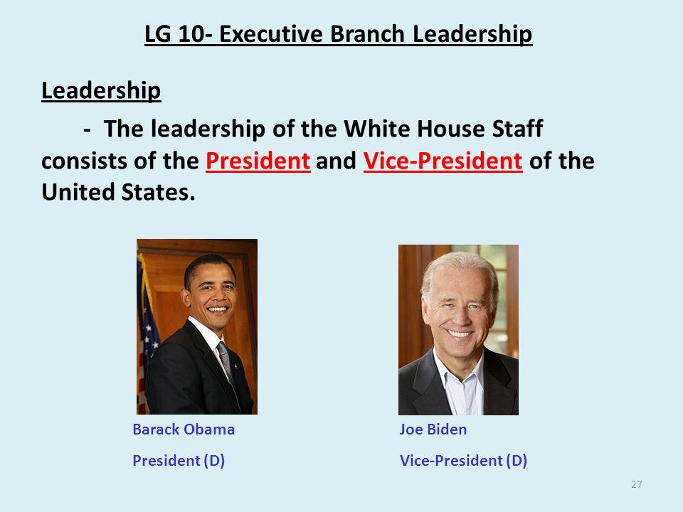 LG 10- Executive Branch Leadership