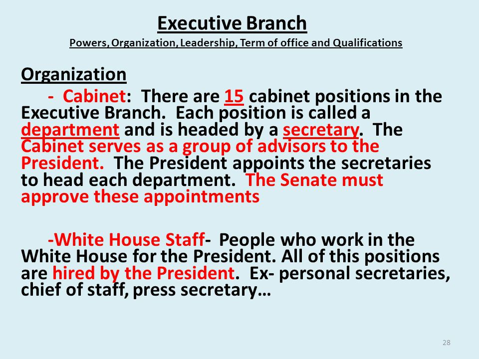 Executive Branch Powers, Organization, Leadership, Term of office and Qualifications