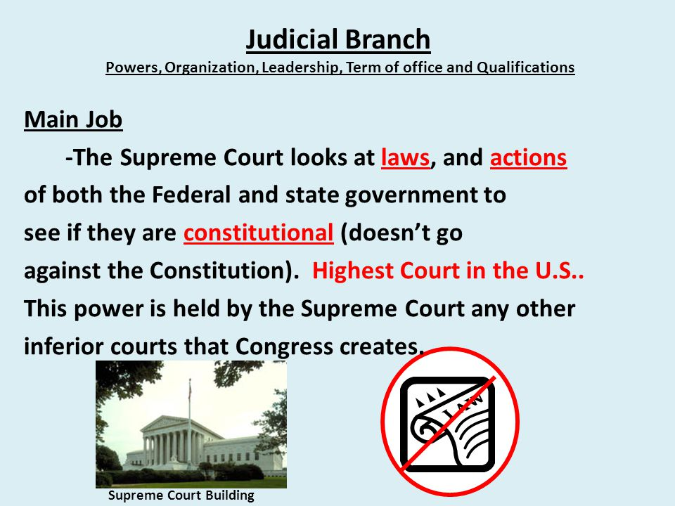 Judicial Branch Powers, Organization, Leadership, Term of office and Qualifications