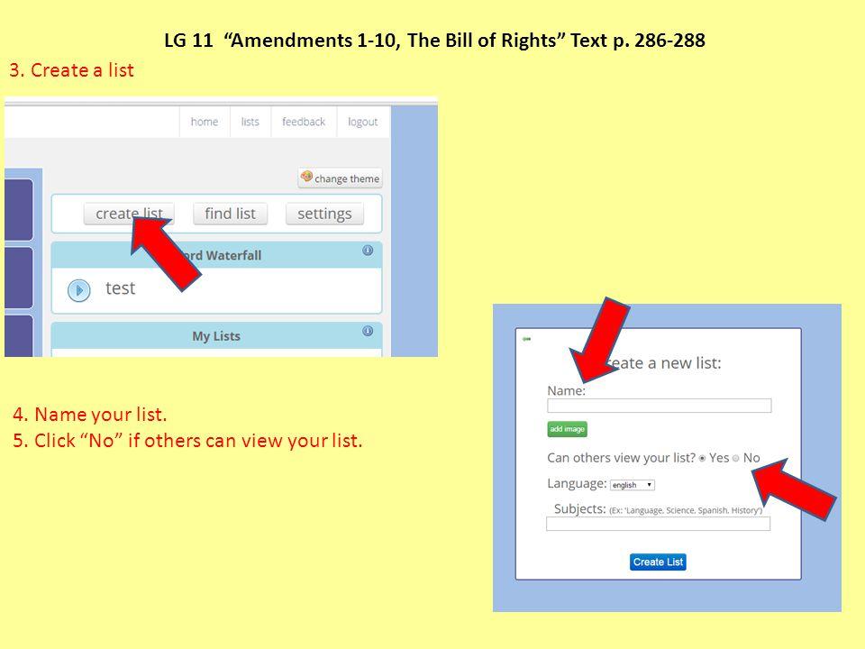 LG 11 Amendments 1-10, The Bill of Rights Text p. 286-288