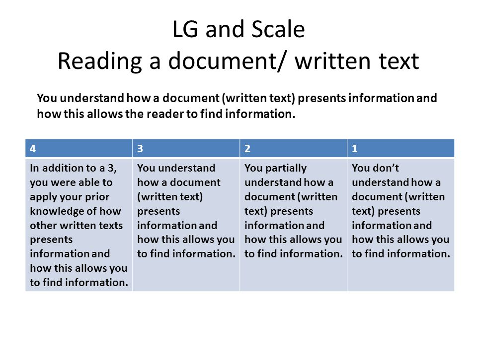LG and Scale Reading a document/ written text