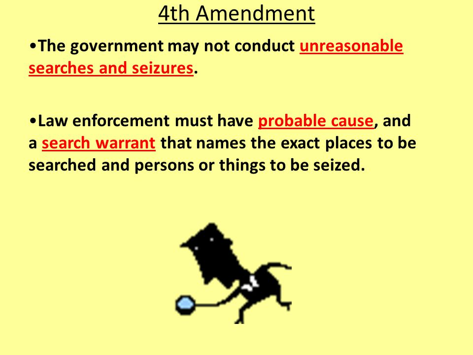 4th Amendment The government may not conduct unreasonable searches and seizures.