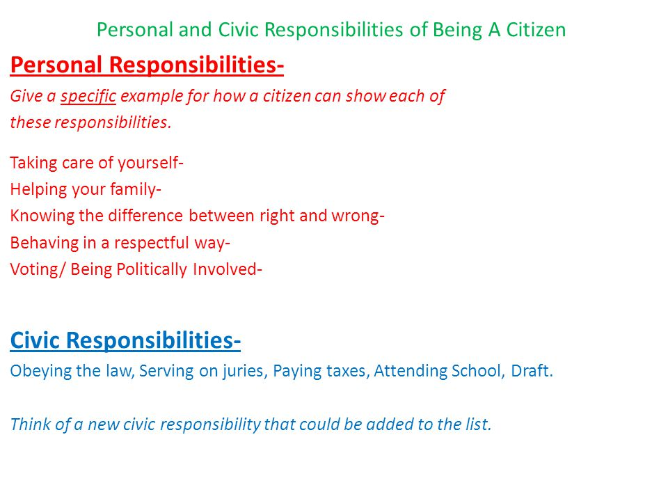 Personal and Civic Responsibilities of Being A Citizen