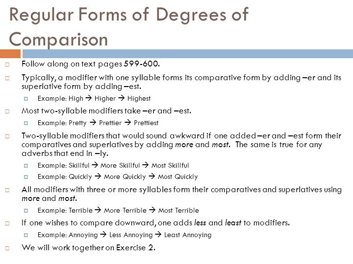 Regular Forms of Degrees of Comparison