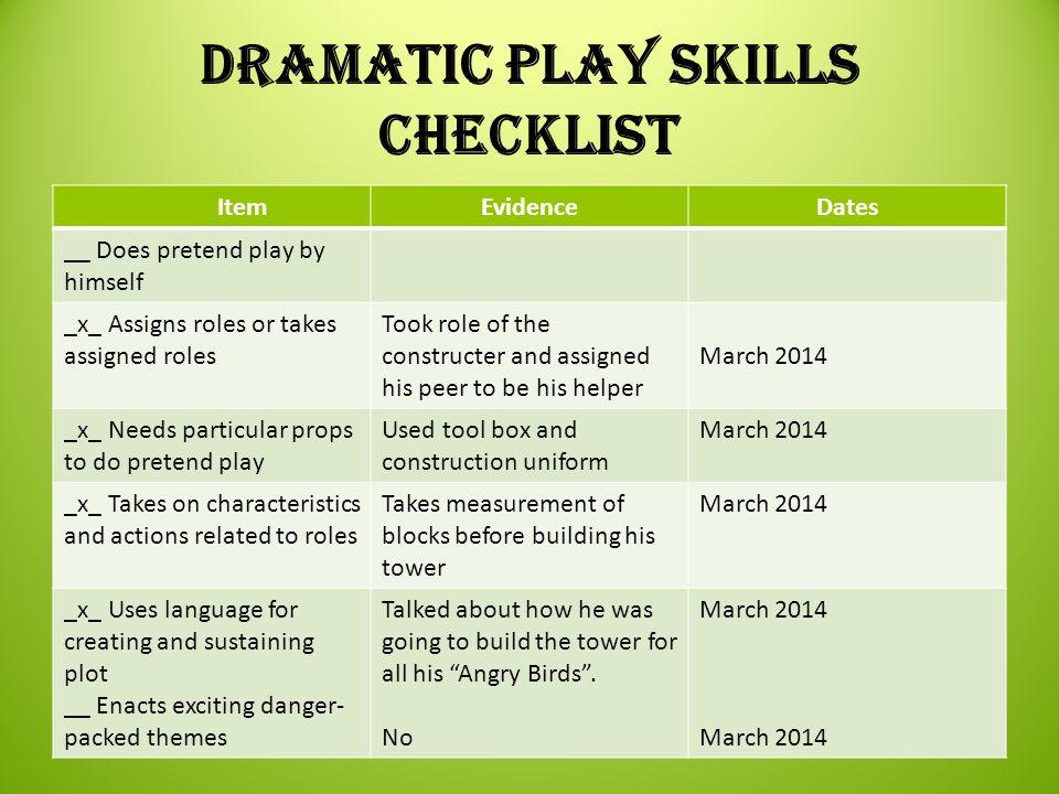 Dramatic Play Skills Checklist