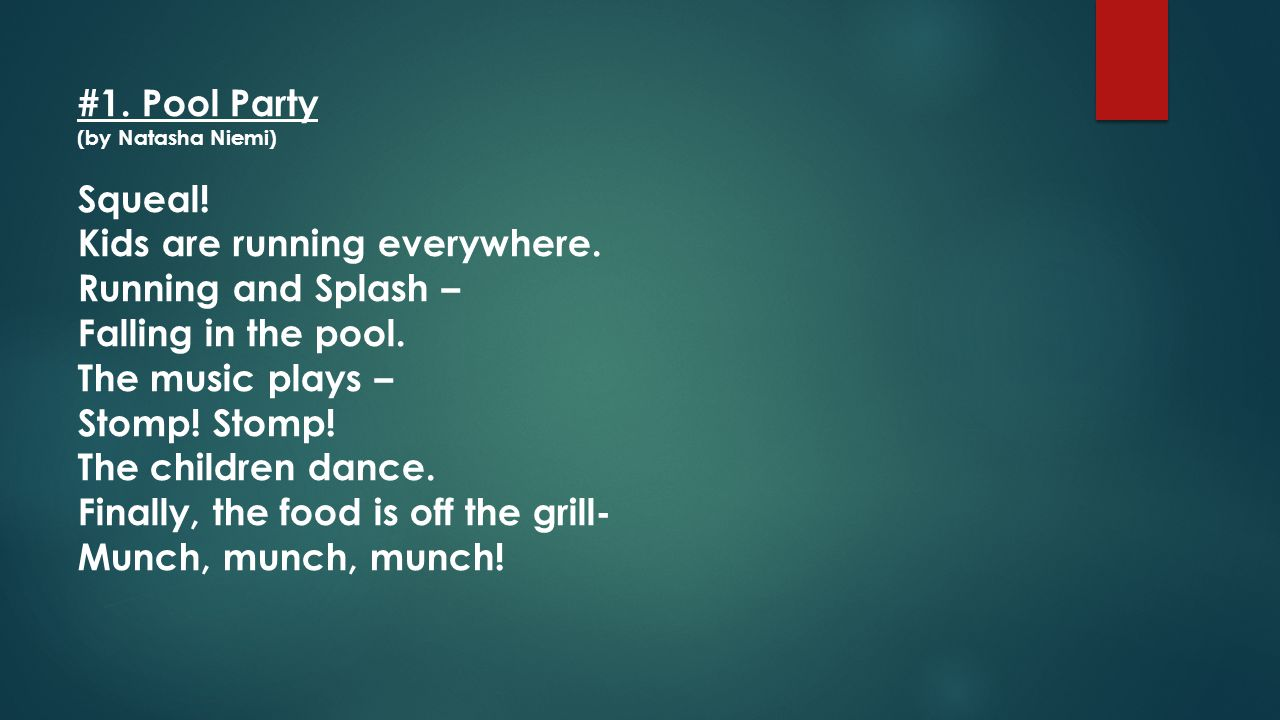 #1. Pool Party (by Natasha Niemi)