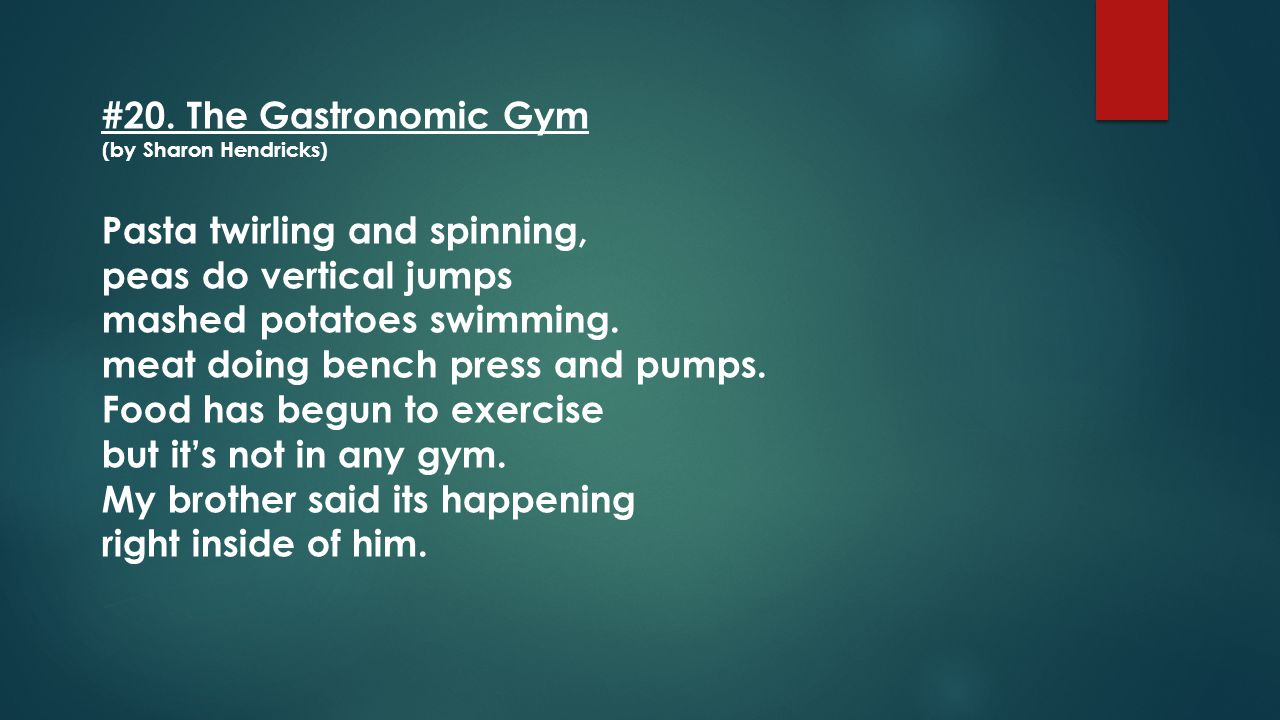 #20. The Gastronomic Gym (by Sharon Hendricks)