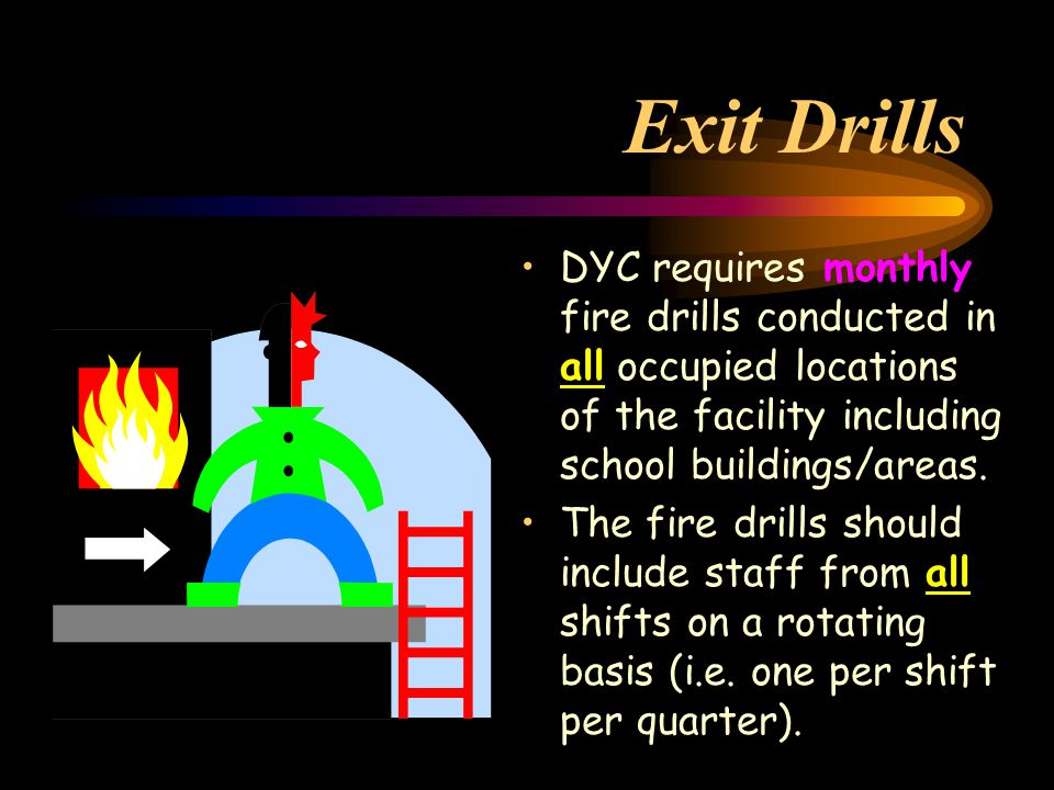 Exit Drills DYC requires monthly fire drills conducted in all occupied locations of the facility including school buildings/areas.
