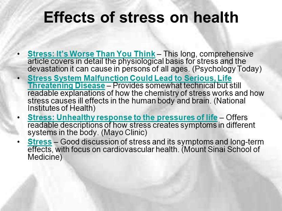 a discussion on the negative effects of stress Chronic stress increases the stress hormone cortisol and affects many brain functions bdnf can offset the negative effects of stress on the brain.