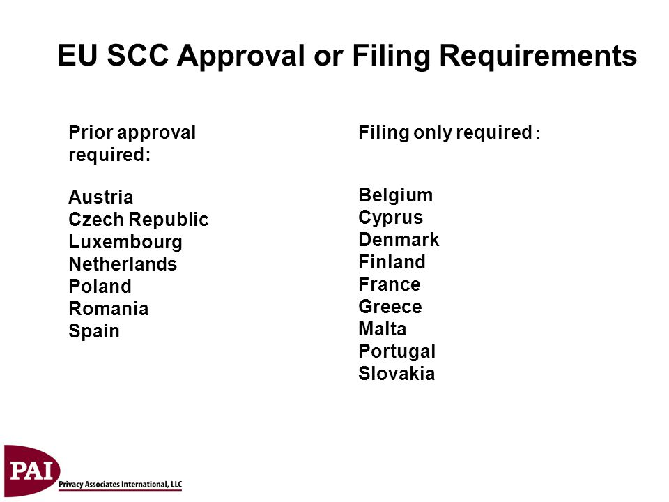 EU SCC Approval or Filing Requirements