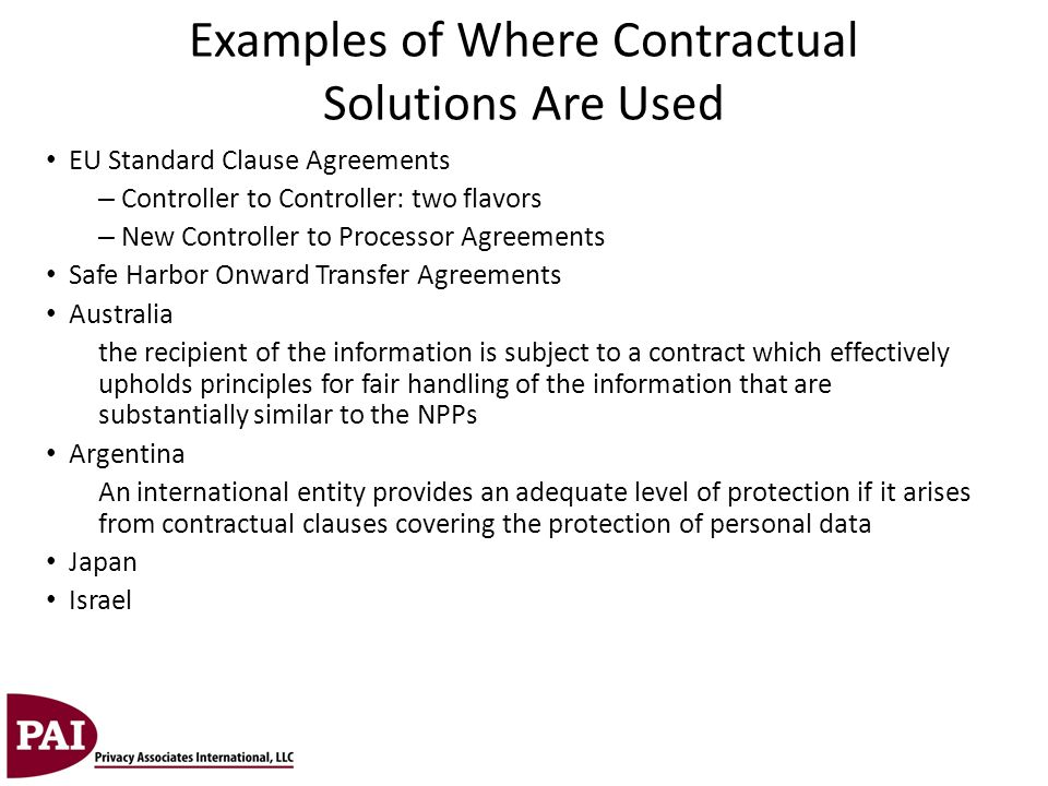 Examples of Where Contractual Solutions Are Used