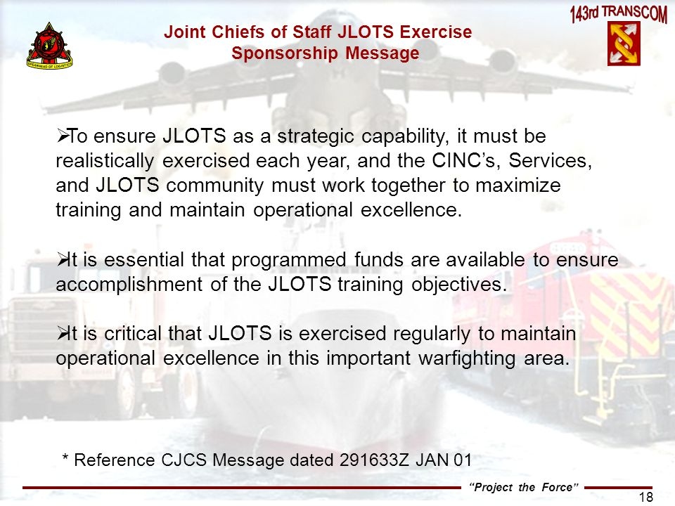 Joint Chiefs of Staff JLOTS Exercise Sponsorship Message