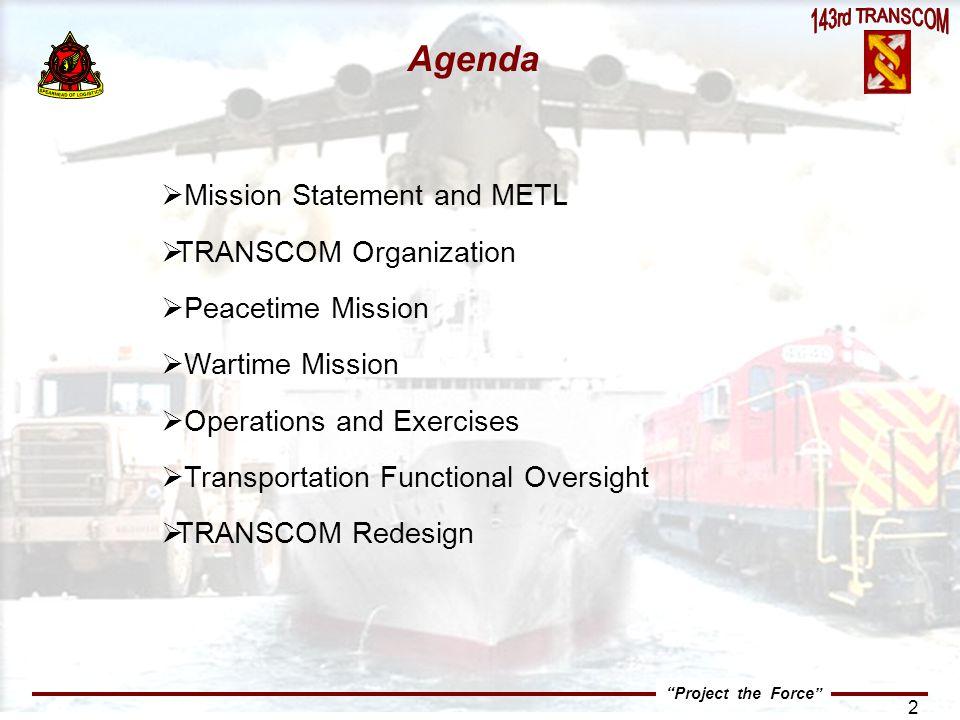 Agenda Mission Statement and METL TRANSCOM Organization