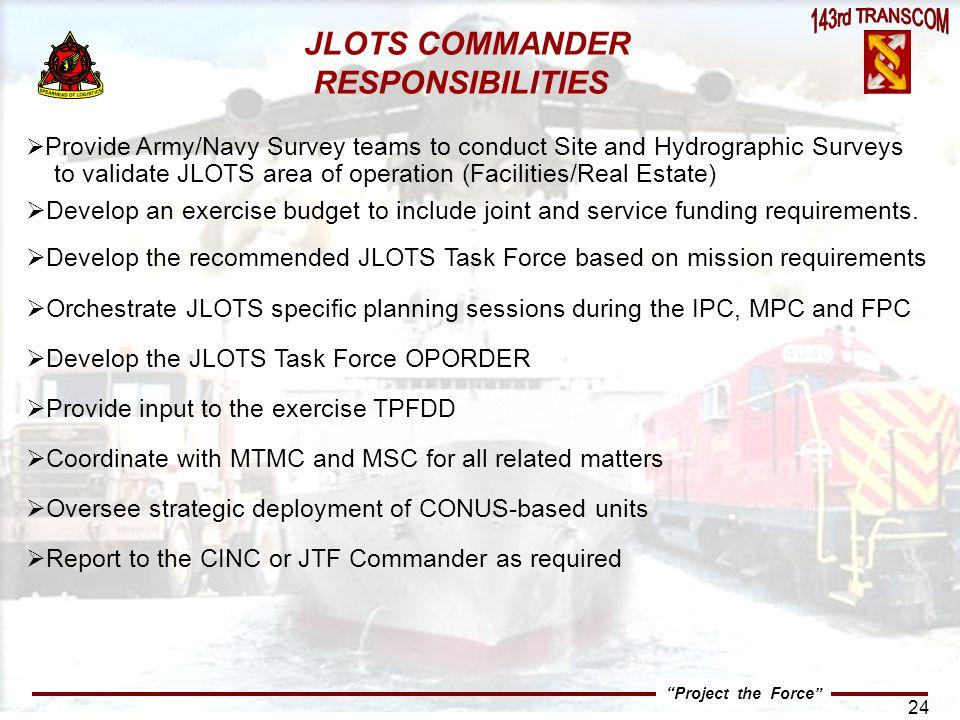 JLOTS COMMANDER RESPONSIBILITIES