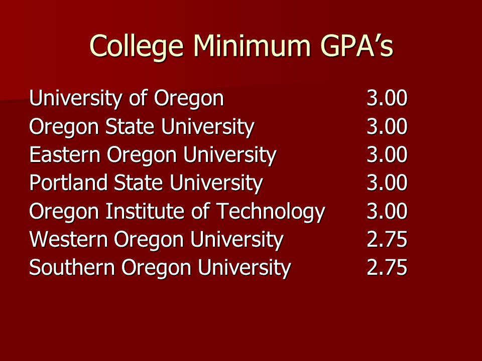 College Minimum GPA's University of Oregon 3.00
