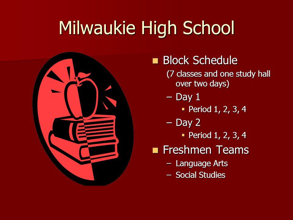 Milwaukie High School Block Schedule Freshmen Teams Day 1 Day 2