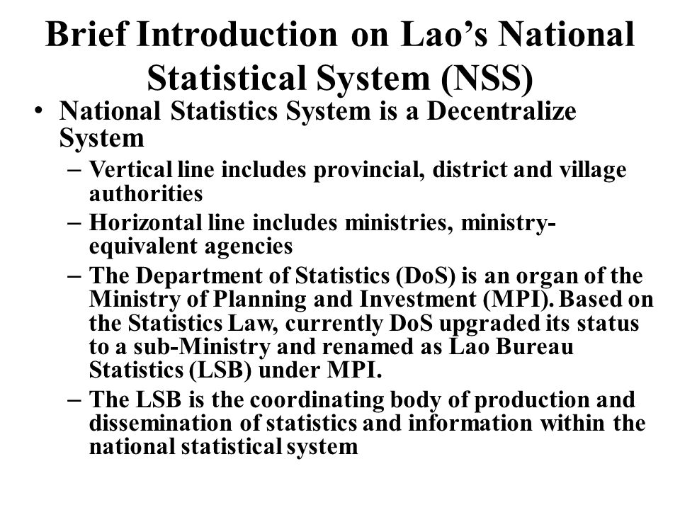 Brief Introduction on Lao's National Statistical System (NSS)