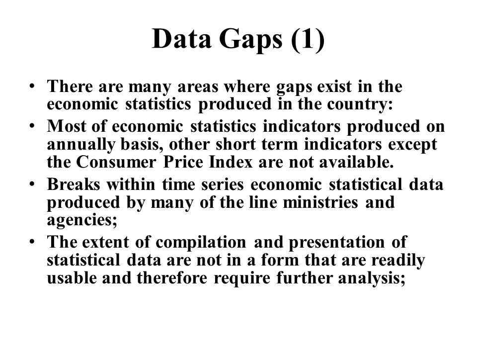 Data Gaps (1) There are many areas where gaps exist in the economic statistics produced in the country: