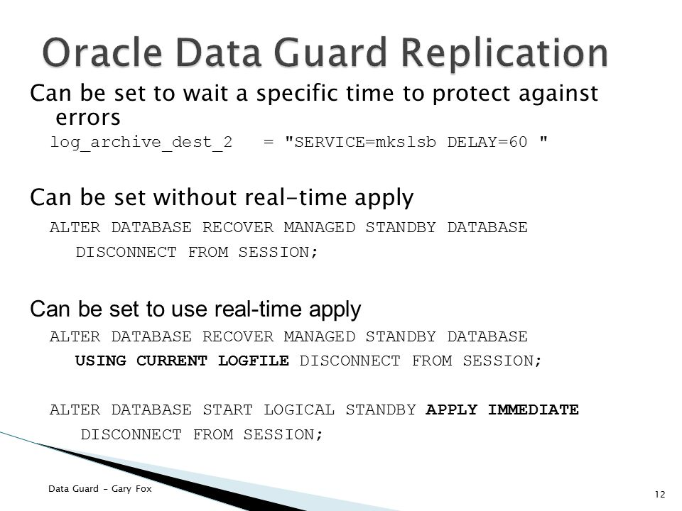 Oracle Data Guard Replication