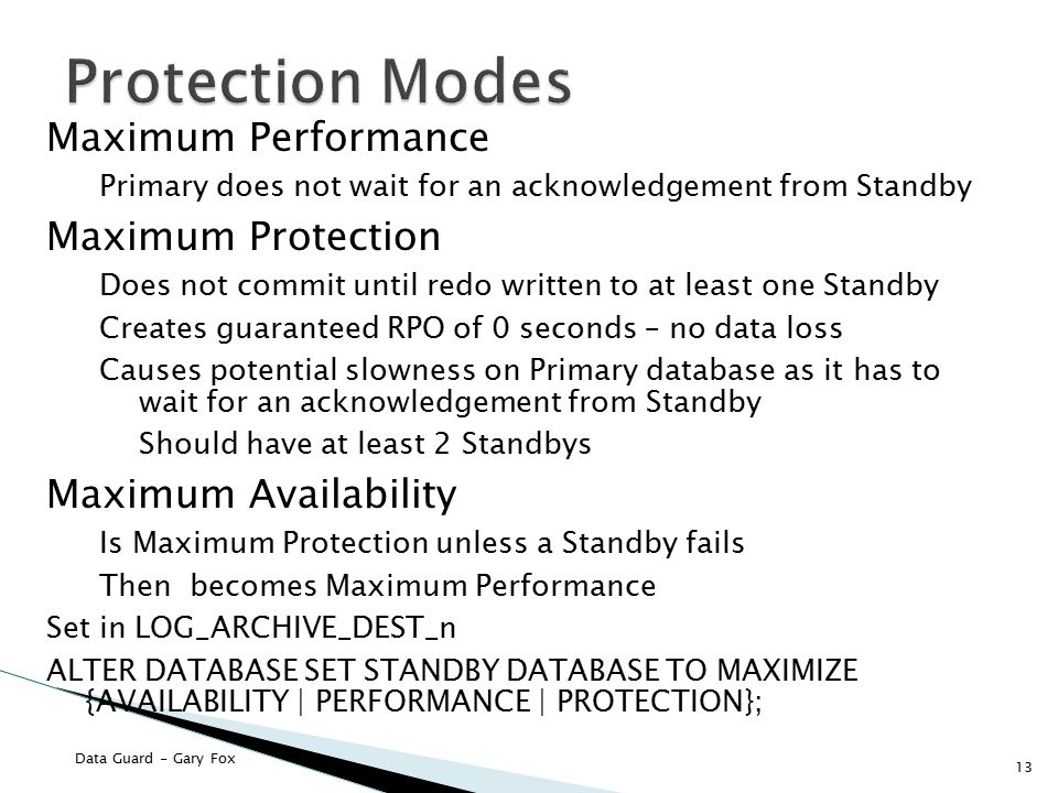 Protection Modes Maximum Performance Maximum Protection